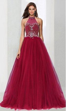Chic breathtaking beaded high neck a line tulle ball Dress Gown Prom Formal Evening Dress Gown