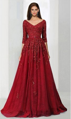 dramaticbeaded lace applique v neck half sleeves court train prom formal evening Dress Gown