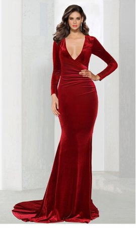 Chic plunging V neckline long sleeved velvet mermaid Dress Gown