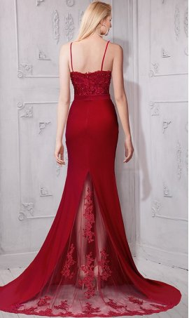 Chic flawless beaded lace applique spaghetti strapes jersey Dress Gown