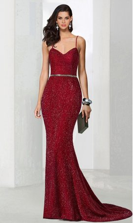 Chic trendy beaded spaghetti straps sparkly mermaid jersey Dress Gown