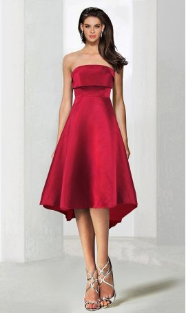 Chic super sassy folded strapless short satin Dress Gown