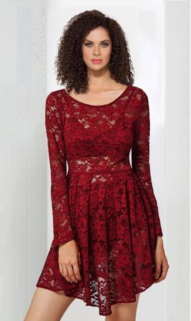Chic high neck long sleeve short lace cocktail Dress Gown