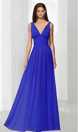 Alluring plunging v neckline chiffon bridesmaid Dress Gown