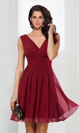 Alluring ruched V neck short chiffon Dress Gown