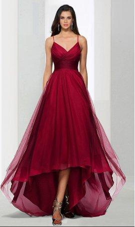 Chic whimsical sweetheart high-low tulle prom formal evening Dress Gown
