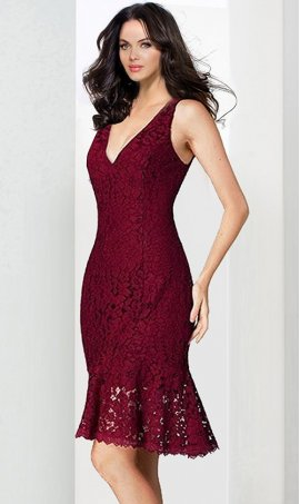 Chic spunky v neck plum skirt short lace Dress Gown