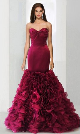 Alluring Sweetheart Rosette Ruffle Bottom Mermaid Trumpet prom formal evening pageant Dress Gown