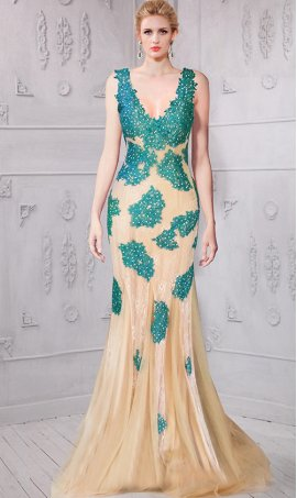 Chic captivating beaded lace applique low v back v neck tulle mermaid Dress Gown