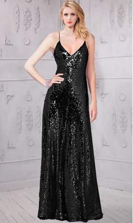 Chic charismatic spark plunging v neckline open back sequin maxi Dress Gown
