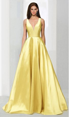 Chic classic V-cut neckline side cut-out a line satin ball Dress Gown Prom Formal Evening Dress Gown