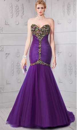 Chic colorful jeweled strapless sweetheart ruched mermaid prom formal eveing Dress Gown