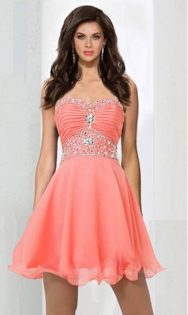 Alluring crystal embellished sweetheart short chiffon homecoming party graduation Dress Gown