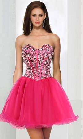 Chic sparkly corset style sweetheart rhinestone bodice beaded short tulle prom homecoming Dress Gown