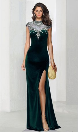 Chic exquisite beaded ilusion high neck cap sleeve floor length high slit velvet Dress Gown