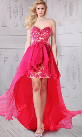 Chic darling sweetheart beaded lace applique sheer illusion high low Prom Formal Evening Dress Gown
