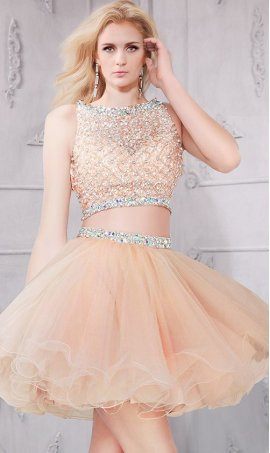Charming Beaded Short High Neck Two Piece Party Prom Homecoming Dress Gown