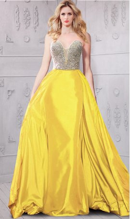 Charming heavily beaded bodice sheer illusion inset taffeta Prom Formal Evening Dress Gown