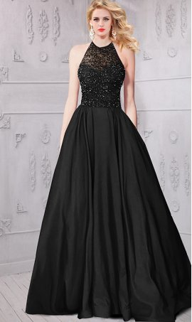 stylish beaded halter neckline taffeta a line ball Dress Gown Prom Formal Evening Dress Gown