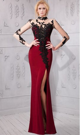 stylish sheer illusion turtle neckline floral lace applique mermaid Dress Gown