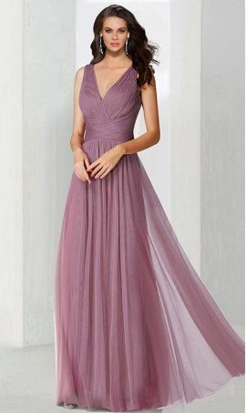 Flawless v neck ruched a line tulle bridesmaid prom formal evening Dress Gown