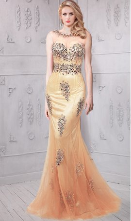 dramaticbeaded sheer high neckline fitted mermaid Dress Gown