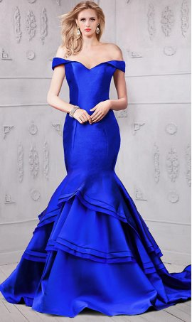 dramaticdraped cap sleeves off the shoulder mikado layered mermaid prom formal evening Dress Gown