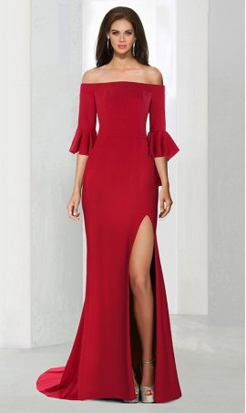 dramaticoff the shoulder three-quarter bell sleeve high slit jersey Dress Gown