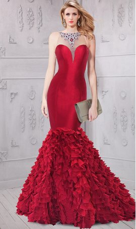 dramaticcolored embellished crystals taffeta ruffled mermaid prom formal evening pageant Dress Gown