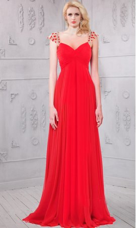 Chic Flowing beaded empire waist cap sleeves chiffon Dress Gown