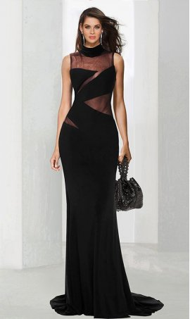 Chic exceptional sheer panel illusion cutout jersey Dress Gown