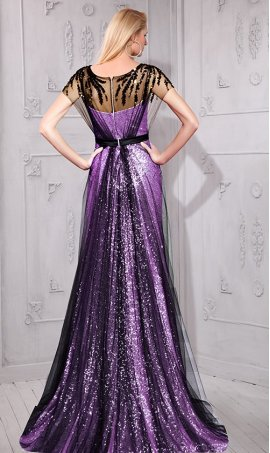 Flawless beaded two tone color-block tulle overlay sequin prom formal evening Dress Gown