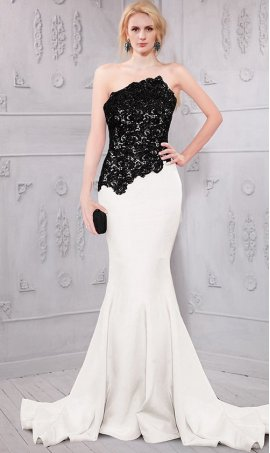 Flawless beaded lace bodice two tone color block mermaid Dress Gown