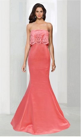 Flawless strapless floor length lace satin prom formal evening Dress Gown