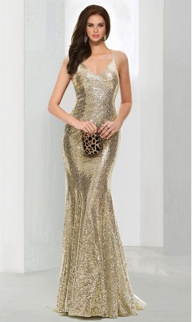Flawless spaghetti straps V neck sweep train criss cross open back sequin Dress Gown