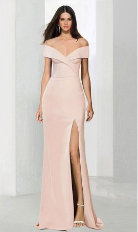 Flawless off the shoulder sweetheart high thigh slit jersey Dress Gown