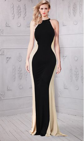 Flawless nude side panels floor length jersey Dress Gown