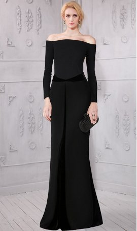 Flawless off the shoulder long sleeves velvet paneling jersey Dress Gown