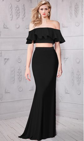 Flawless off the shoulder ruffled crop top two piece jersey Dress Gown