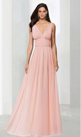 Flawless plunging v neckline chiffon bridesmaid Dress Gown