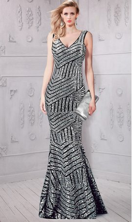 Chic absolutely best v neck sheer back mermaid sequin Dress Gown