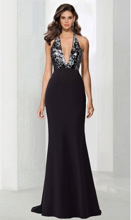 Chic flawless plunging V-neckline open back floor length sequin jersey Dress Gown