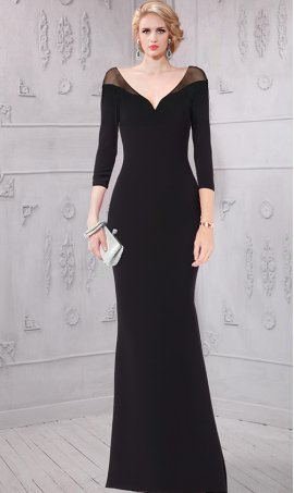 Chic flawless v neck sheer illusion long sleeve jersey Dress Gown