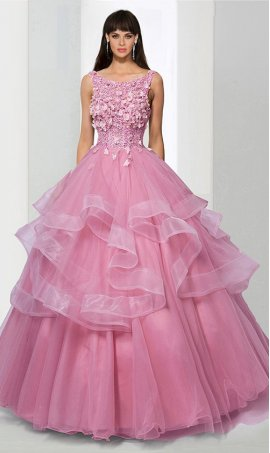 Chic floral embellished high neck tulle ball Dress Gown prom formal quinceanera Dress Gown
