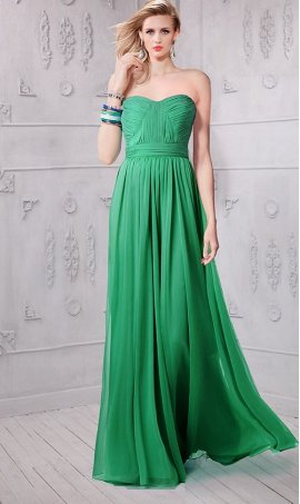 Chic flowy sweethart floor length gala chiffon bridesmaid prom formal evening Dress Gown