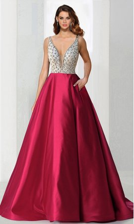 Chic stone beaded bodice mesh insert deep v neckline a line satin ball Dress Gown Prom Formal Evening Dress Gown