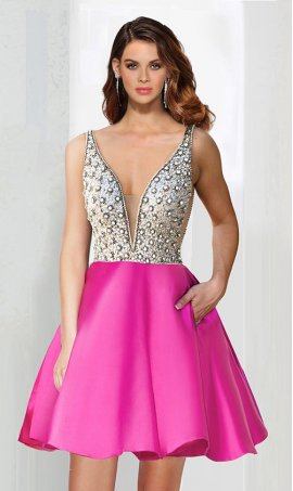 Charming stone beaded bodice mesh insert deep v neckline a line satin short Prom Formal Evening Dress Gown