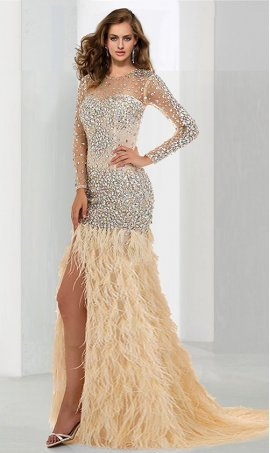 Flawless beaded sheer illusion long sleeves high thigh slit feather skirt Prom Formal Evening Dress Gown