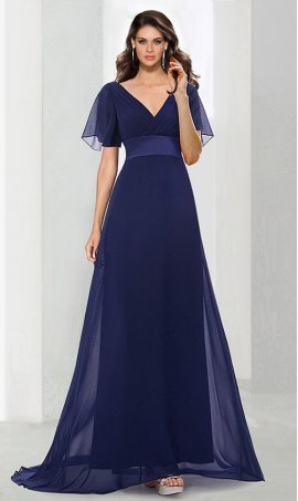 Chic glamorous double V-neck empire waist short sleeve chiffon evening Dress Gown