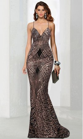 Chic glistening deep v-neck spaghetti straps lace-up open back sequin mermaid Dress Gown